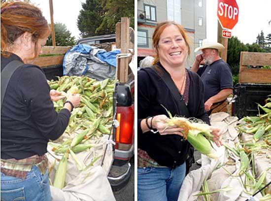 Elaine buying corn