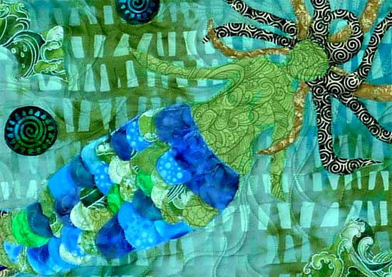 Betsy's Mermaid Quilt close-up