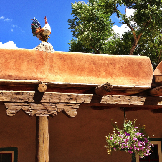 Ceramic rooster at Mabel Dodge Luhan House.
