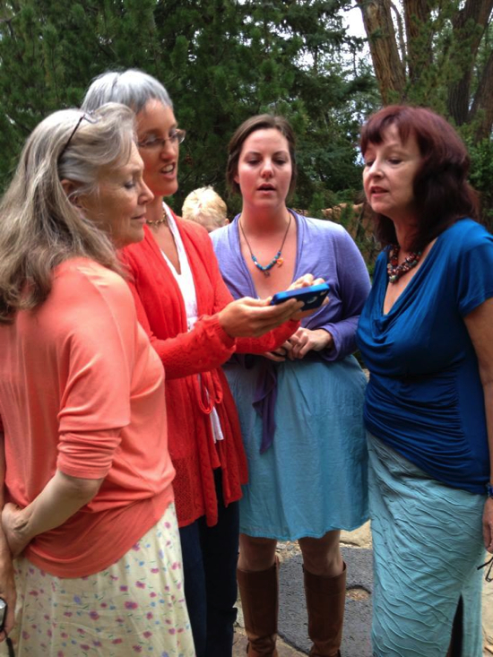 "Singing ""One Voice"" with Peg, Christina, & Amy. Photo by Ruth McCully."