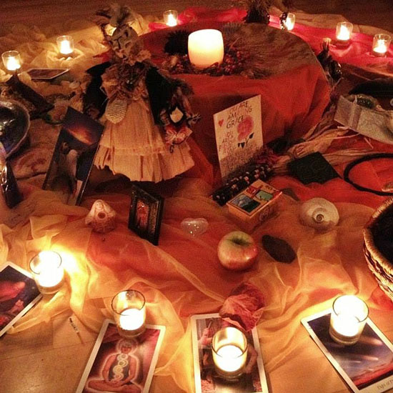 Autumn altar with candles