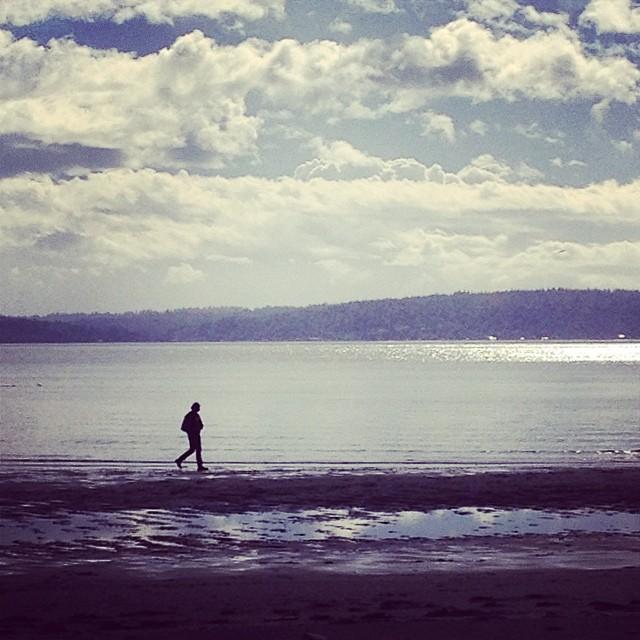 Contemplative beach walk