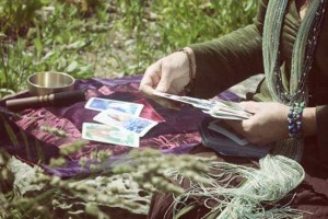 sorting tarot cards