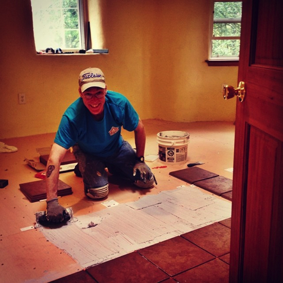 Craig laying tile