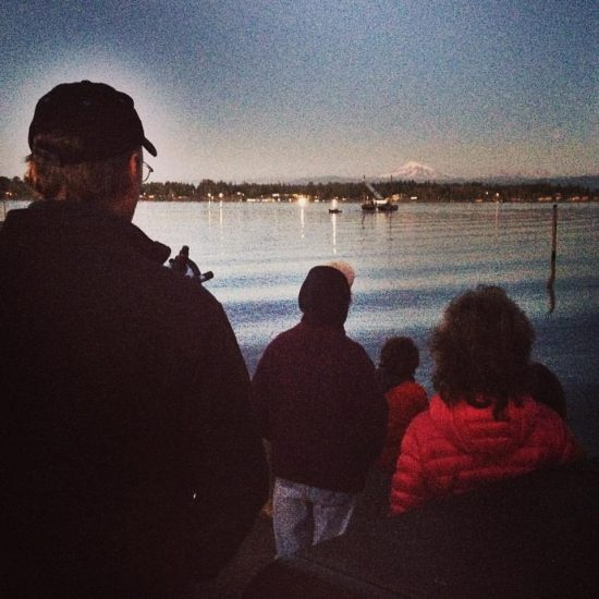 ferry dock moon viewing