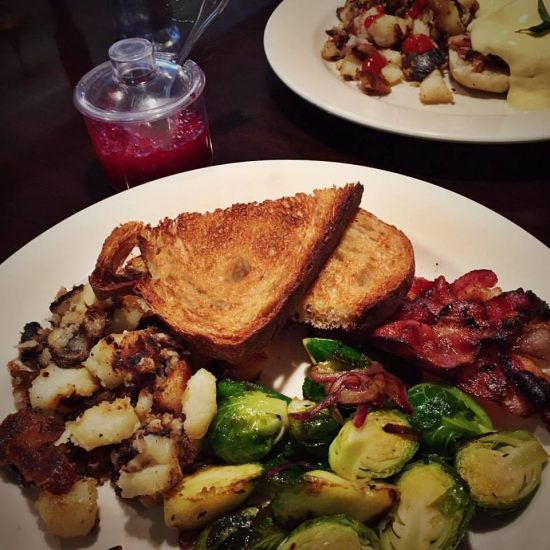 Grateful for a neighborhood café that makes Brussels sprouts for my breakfast because I'm allergic to eggs! Gluten free toast and island-grown raspberry jam too. Heaven!
