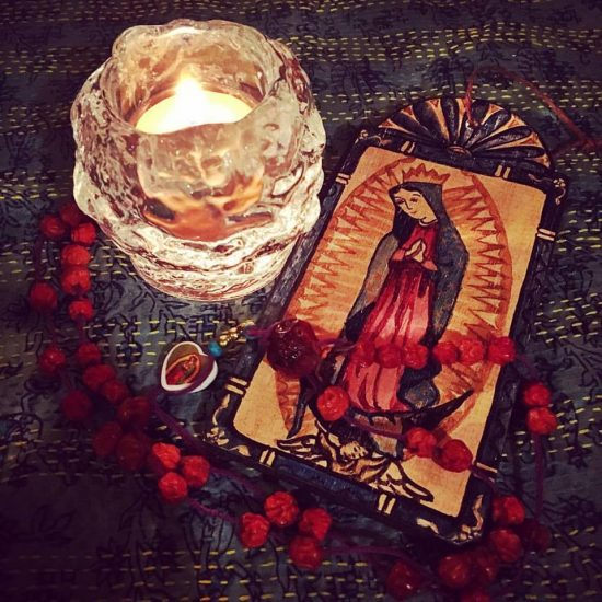 Rose early to light a candle for my friend and web support goddess Shari, as she went in for surgery to have a pacemaker implanted in her heart. An offering of the scent of roses to Our Lady, prayers murmured over a rosary made of rosehips and rowan beads by @latisha_guthrie. May your heart flourish and heal, dear Shari! May all be well!