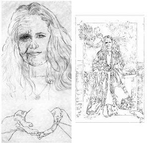 Priestess line drawing