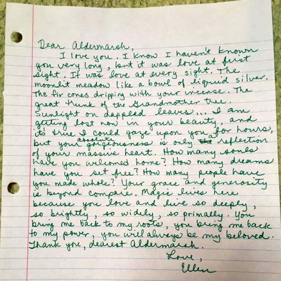 Ellen's love letter to Aldermarsh.